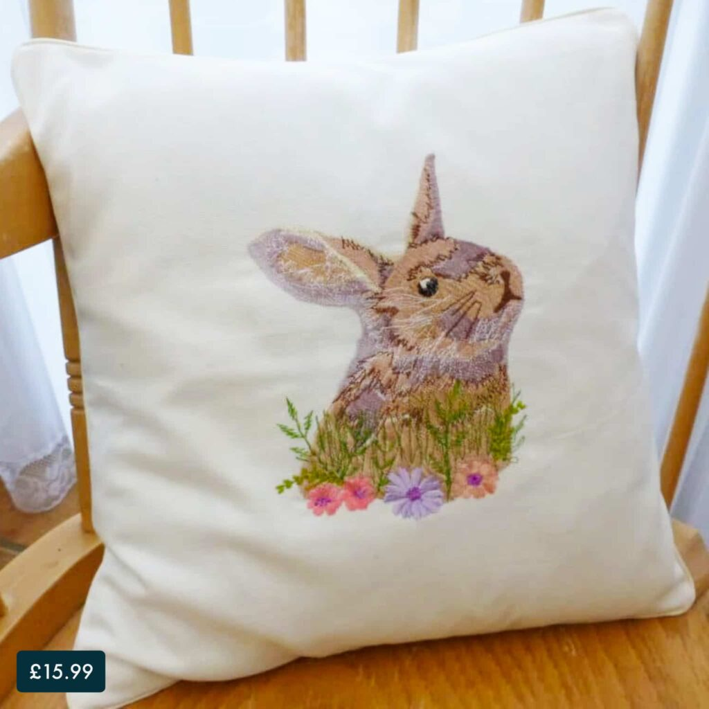 Embroidered Rabbit Cushion Cover