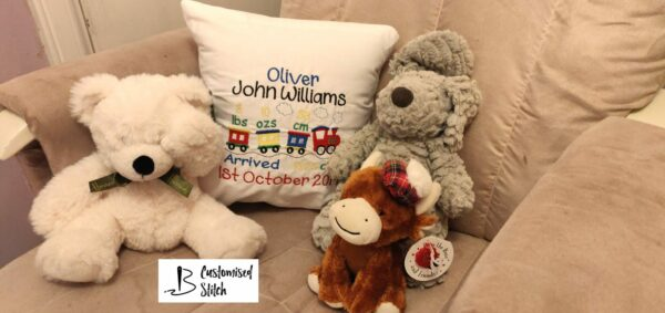 Personalised Embroidered Train design cushion, includes baby statistics - product image 2