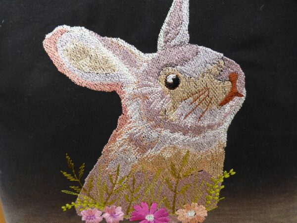 Cushion cover – embroidered rabbit - product image 2