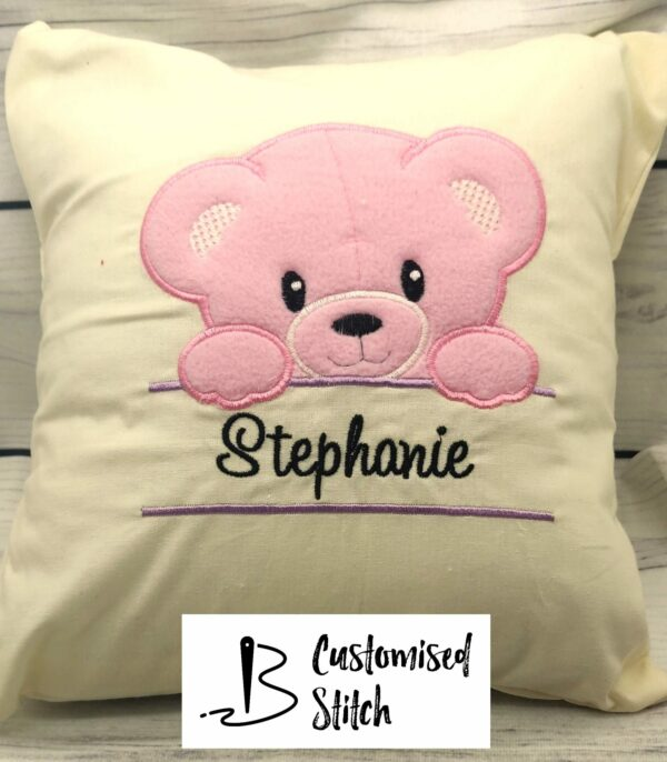 Baby Girl Teddy Bear Embroidered Cushion - main product image