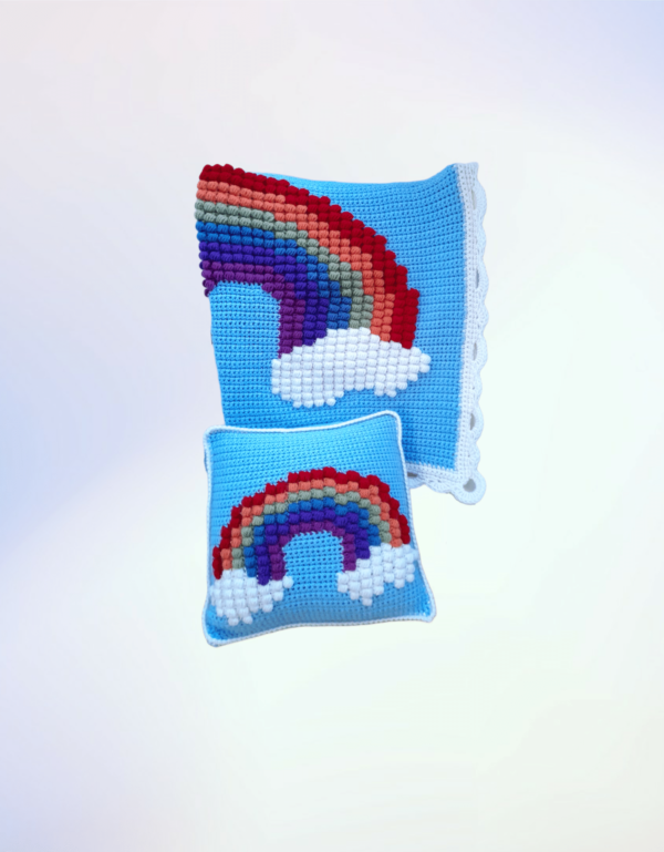 Rainbow Puff Blanket and Pillow Matching Set - main product image