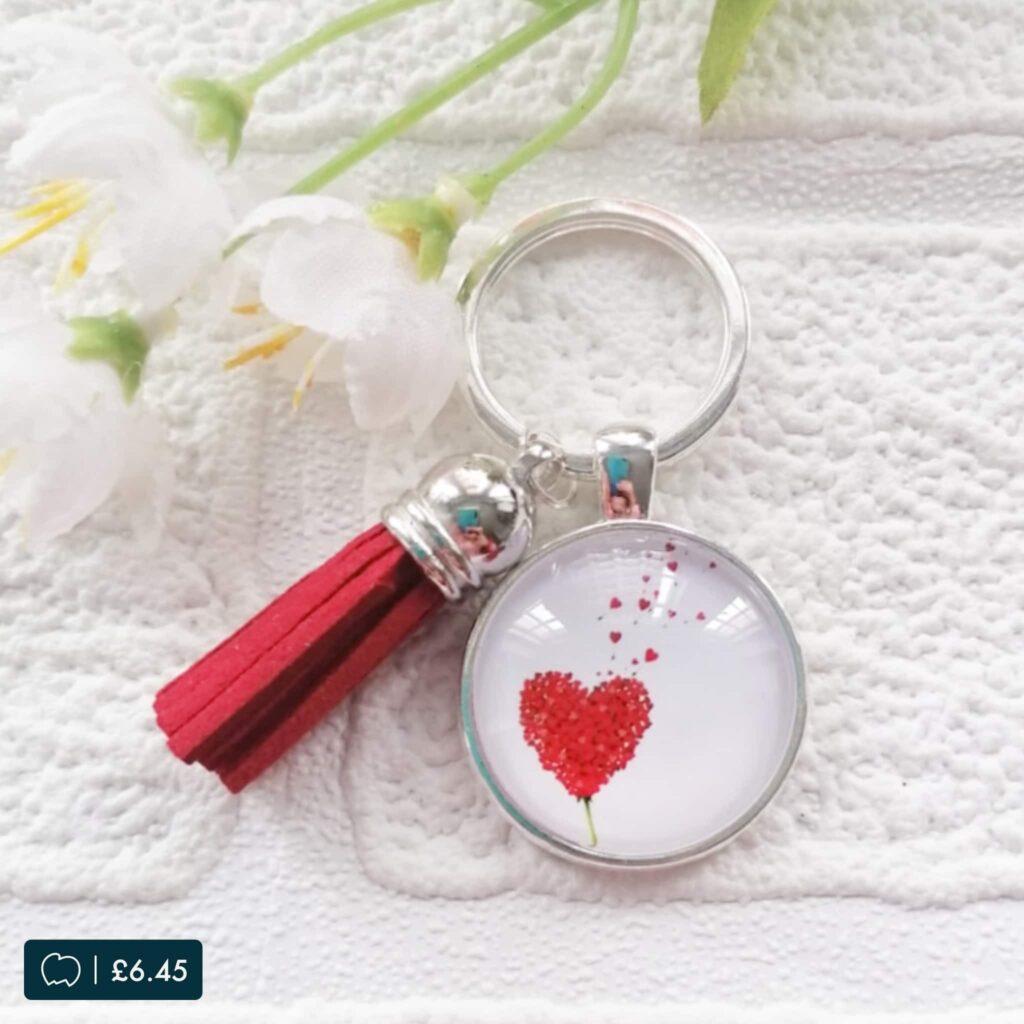 Valentines heart design lucky dip keyring