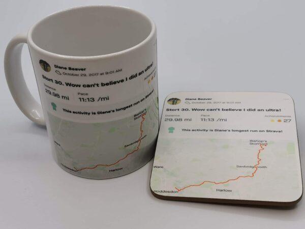 Personalised Strava activity mug and coaster - main product image