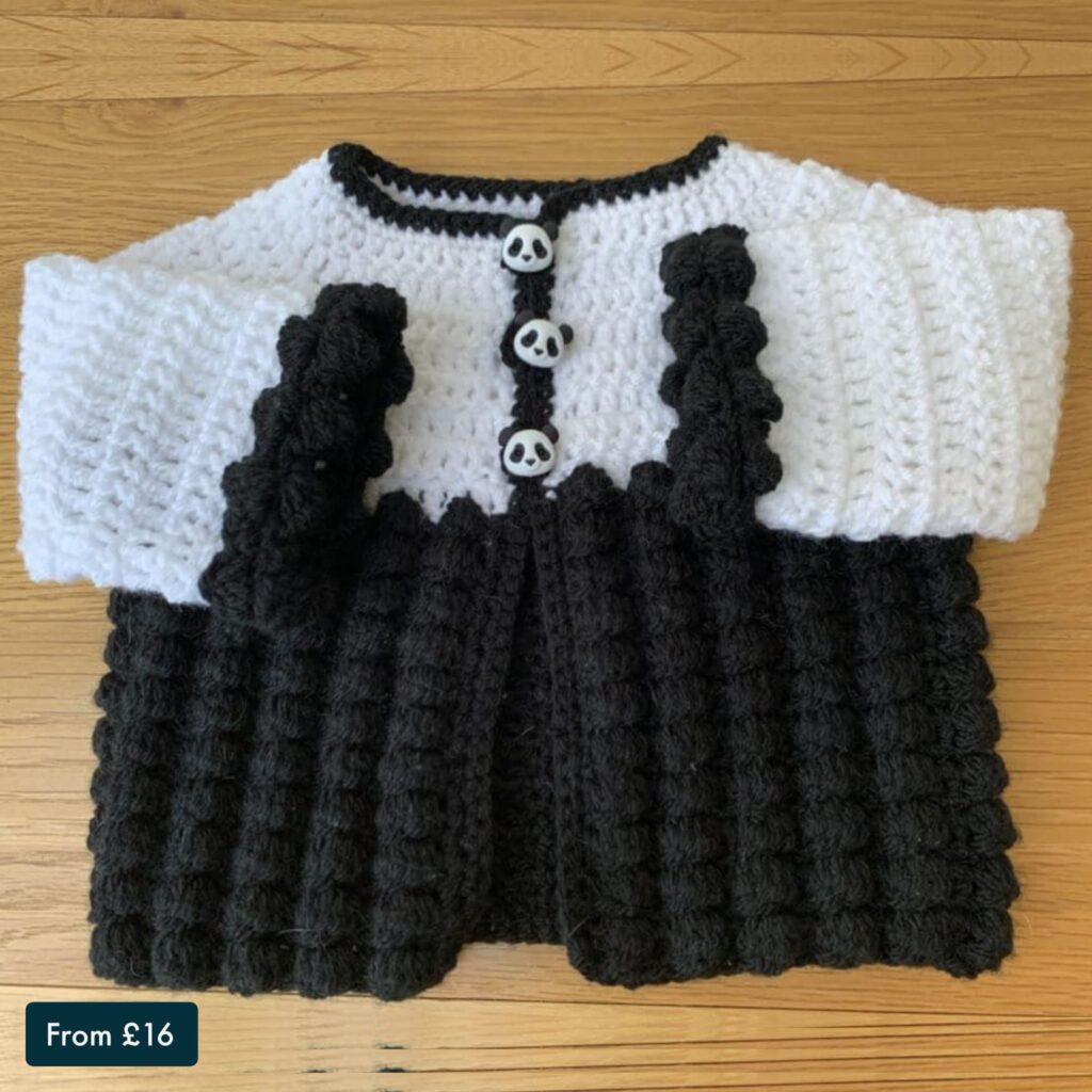 Crochet Baby Cardigan – Black and White Panda