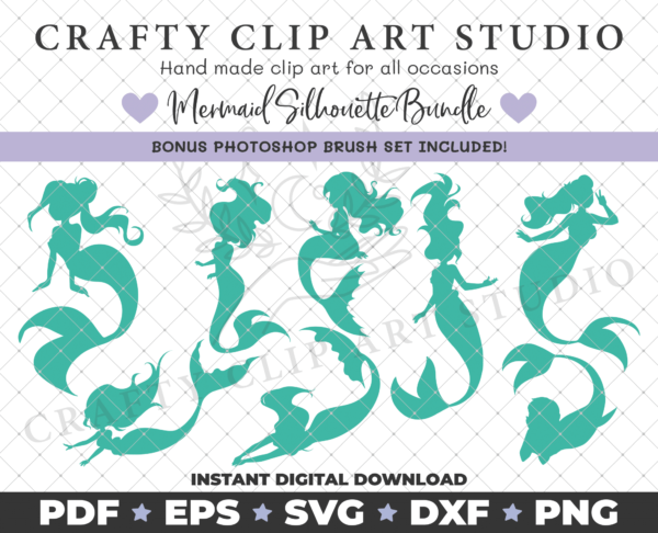 Mermaid Silhouette Bundle – SVG DXF PNG & More! - product image 3