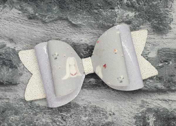 Silver bunny bow clip - main product image