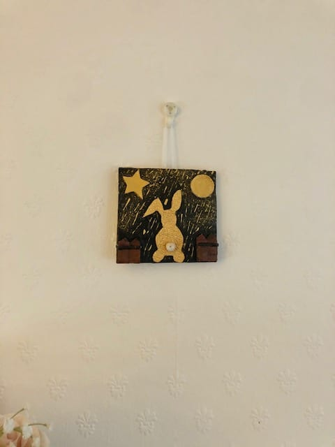 Handmade clay art picture 'Golden bunny dreaming in a golden rain' - product image 3