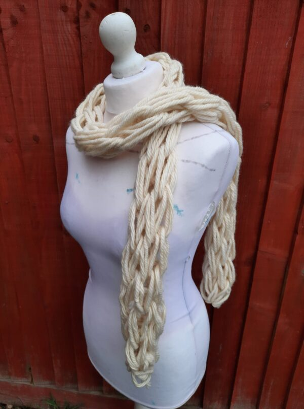 Blue Face Leicester undyed wool arm knit i – cord skinny scarf - main product image