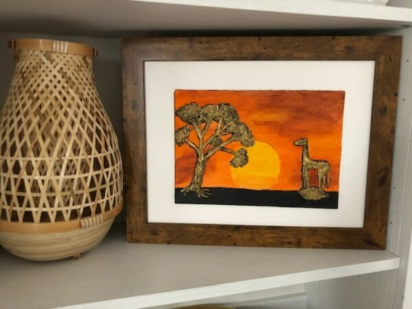 Handmade and Bespoke Clay Art Framed Picture African Sunset - product image 2