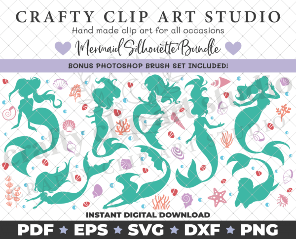 Mermaid Silhouette Bundle – SVG DXF PNG & More! - product image 2