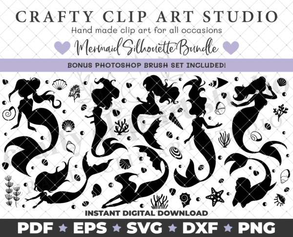 Mermaid Silhouette Bundle – SVG DXF PNG & More! - main product image