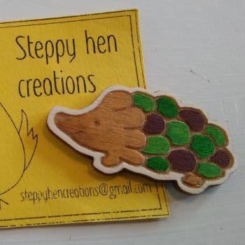Cute handmade wooden hedgehog brooch or fridge magnet   Laser engraved original design - product image 3