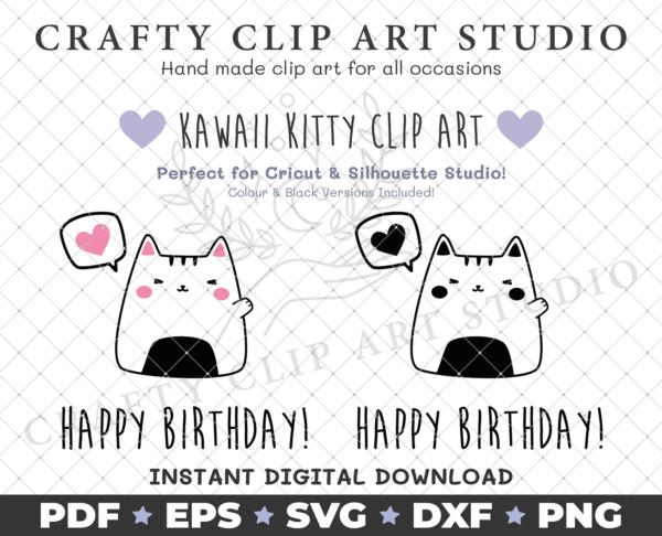 Kawaii Kitty – Happy Birthday: SVG, DXF, PNG & More! - main product image