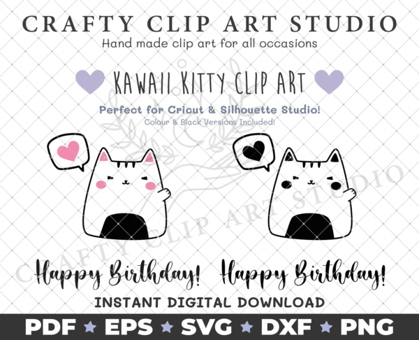 Kawaii Kitty – Happy Birthday: SVG, DXF, PNG & More! - product image 2