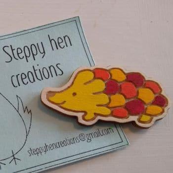 Cute handmade wooden hedgehog brooch or fridge magnet   Laser engraved original design - product image 2