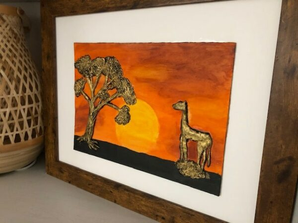 Handmade and Bespoke Clay Art Framed Picture African Sunset - product image 3