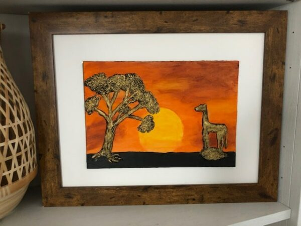 Handmade and Bespoke Clay Art Framed Picture African Sunset - main product image
