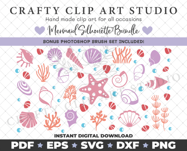 Mermaid Silhouette Bundle – SVG DXF PNG & More! - product image 4