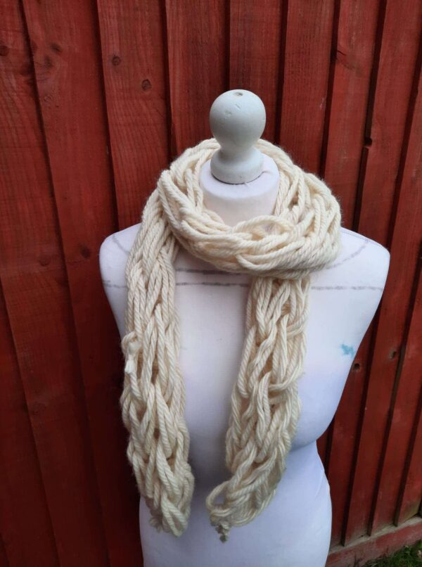 Blue Face Leicester undyed wool arm knit i – cord skinny scarf - product image 2