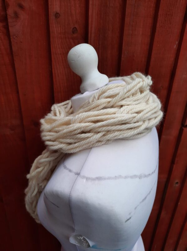 Blue Face Leicester undyed wool arm knit i – cord skinny scarf - product image 3