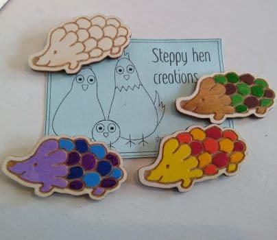 Cute handmade wooden hedgehog brooch or fridge magnet   Laser engraved original design - main product image