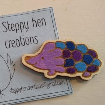 Cute handmade wooden hedgehog brooch or fridge magnet   Laser engraved original design - product image 4
