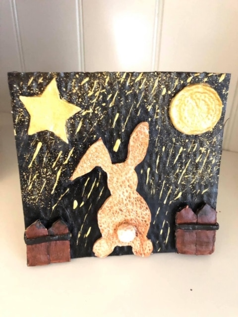 Handmade clay art picture 'Golden bunny dreaming in a golden rain' - main product image