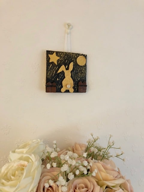 Handmade clay art picture 'Golden bunny dreaming in a golden rain' - product image 2