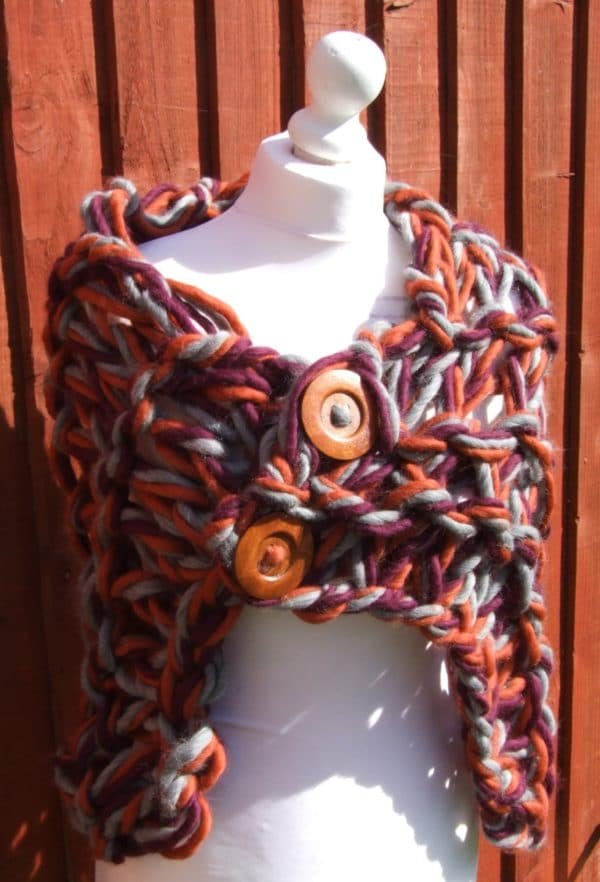 100% Peruvian Highland wool arm knitted shrug/stole/cover up - main product image
