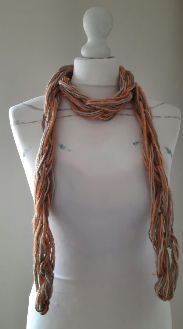 Arm knitted organic wool/baby Alpaca & Mohair silk mix I cord skinny scarf - product image 2