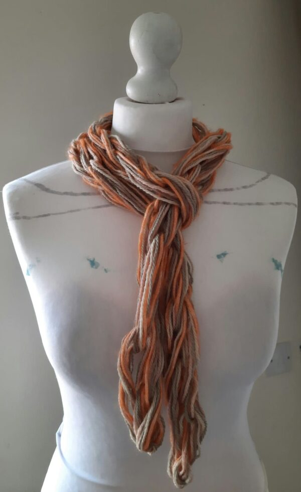 Arm knitted organic wool/baby Alpaca & Mohair silk mix I cord skinny scarf - main product image