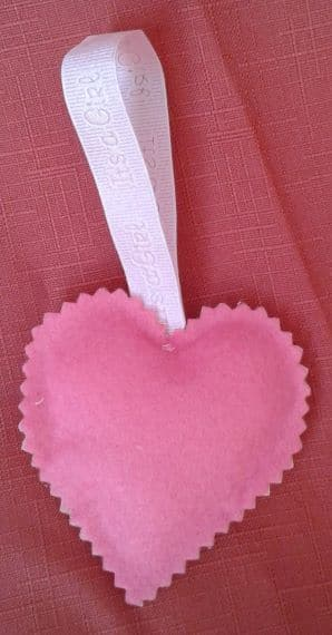 Congratulations New Baby Pink Cross Stitch Hanging Heart – Pocket Heart or Hug - product image 2