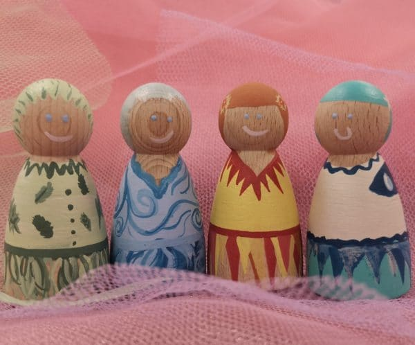 Playful Pixies – Hand painted Peg Doll Wooden Figures - main product image