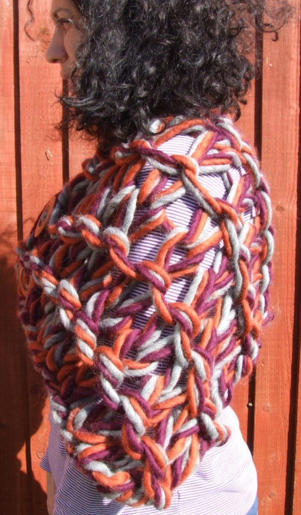 100% Peruvian Highland wool arm knitted shrug/stole/cover up - product image 4