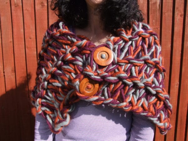100% Peruvian Highland wool arm knitted shrug/stole/cover up - product image 3