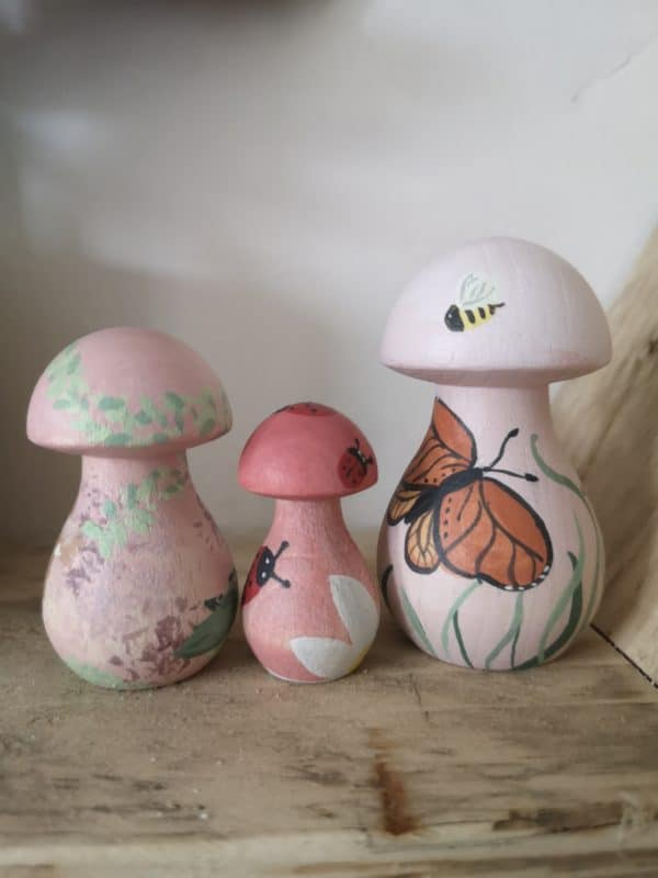 Magical Mushrooms – Hand painted Pegshrooms Wooden Garden Home Decoration - main product image