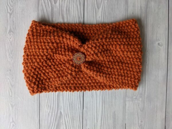 Ladies Ear warmers, Burnt Orange Ladies Knitted Headband, Warm winter Knit Headband - main product image