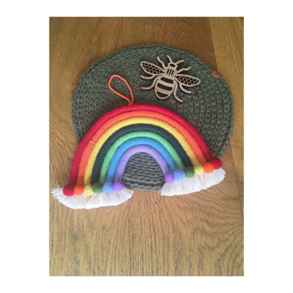 Macrame and needlefelt rainbow wall hanging decor - main product image