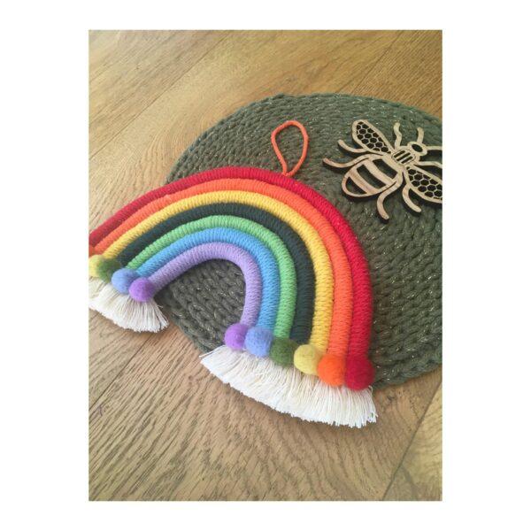 Macrame and needlefelt rainbow wall hanging decor - product image 2