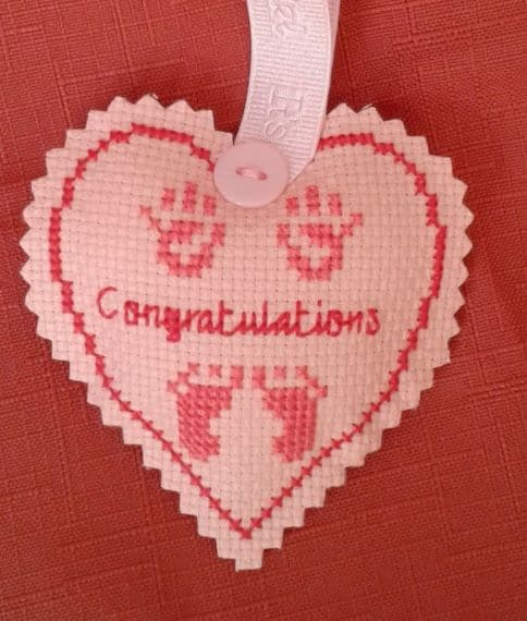 Congratulations New Baby Pink Cross Stitch Hanging Heart – Pocket Heart or Hug - main product image