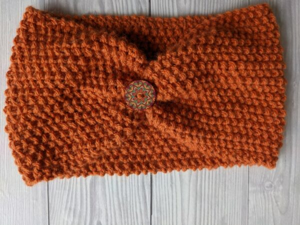 Ladies Ear warmers, Burnt Orange Ladies Knitted Headband, Warm winter Knit Headband - product image 2