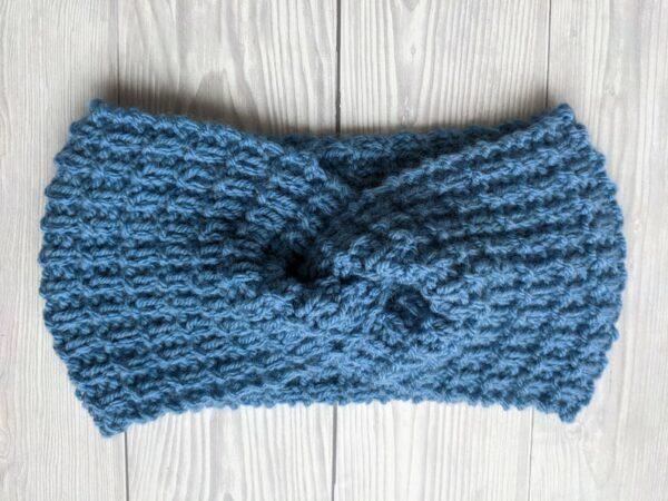 Ladies Ear warmers, Blue Ladies Knitted Headband, Warm winter Knit Headband - product image 2