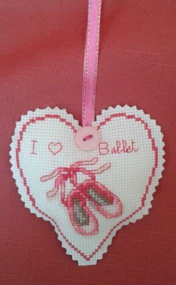 I Love Ballet Cross Stitch Heart – Medium - product image 2