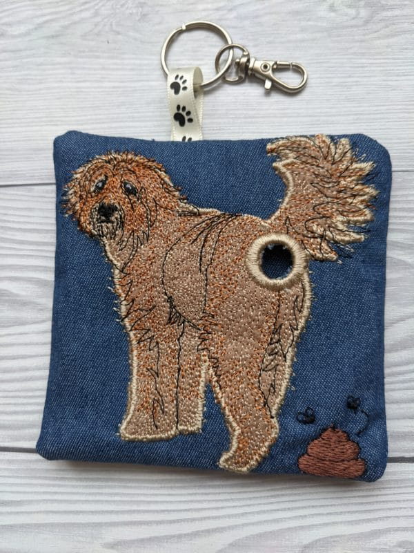 Goldendoodle dog poo bag roll holder, dog walkies bag - product image 2