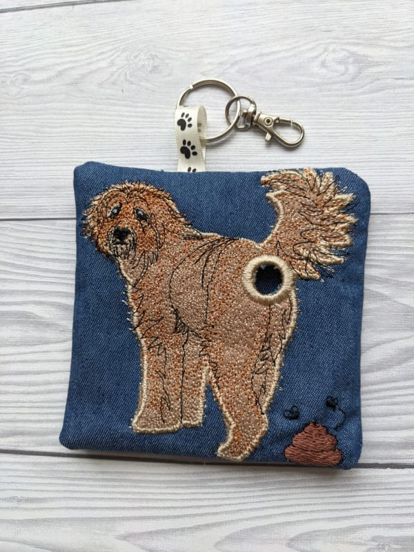 Goldendoodle dog poo bag roll holder, dog walkies bag - main product image