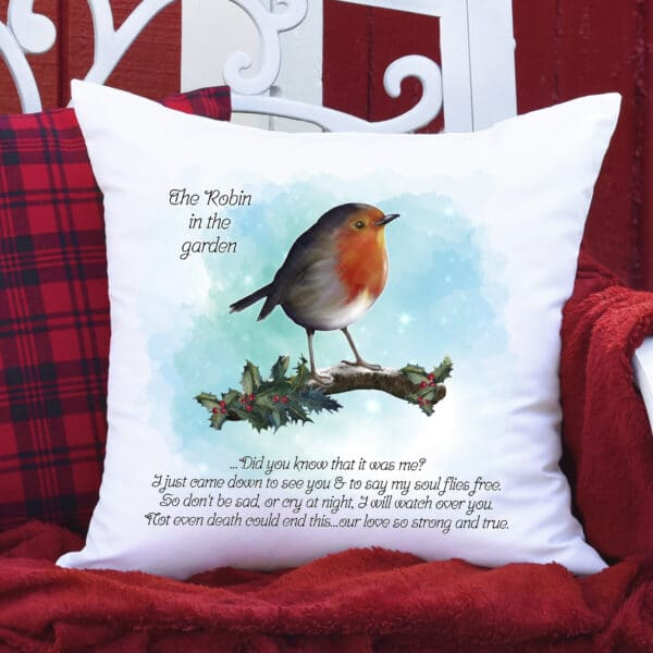 Robin/rememberence cushion/cover. - main product image