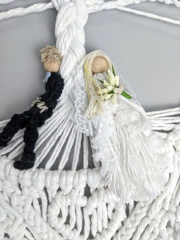 Macrame bride and groom wall hanging gift wedding cotton anniversary rose quartz - product image 2