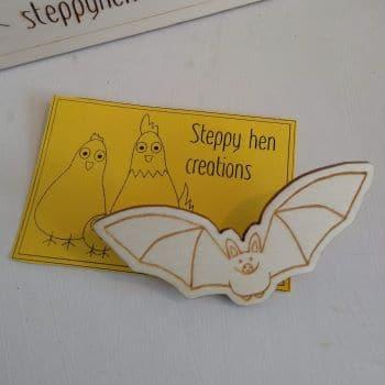Handmade wooden bat brooch or fridge magnet | Laser engraved original design - product image 3