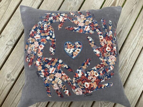 Personalised Liberty print handprint cushion – grey/Liberty Thorpe - product image 4