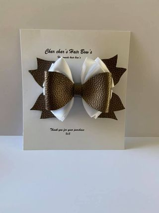 faux leather pearl hair bow - product image 5